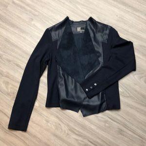 Navy Blue Women's Faux Leather Jacket